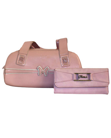 Fino Pu Leather Bag & Purse Set - Pink