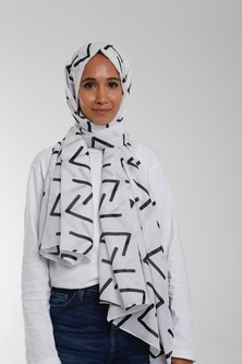 Valenci Viola White/Black Hijab