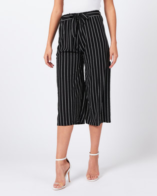Utopia Stripe Knit Wide Leg Trousers Black/White