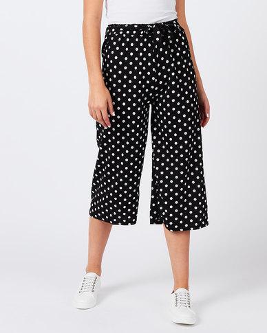 Utopia Spot Knit Wide Leg Trousers Black/White