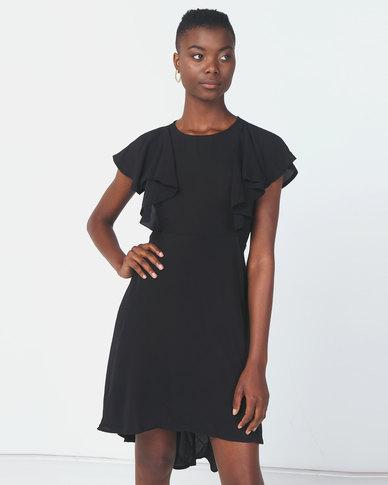 Revenge Hi Lo Flared Dress Black