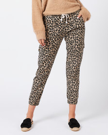Revenge Cuffed Leopard Print Pants Beige