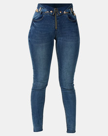 Sissy Boy Med Vintage High Rise Skinny With Belt Blue