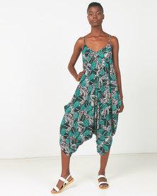 Utopia Tropical Print Viscose Harem Jumpsuit Multi