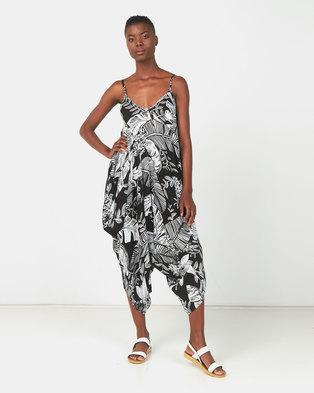 Utopia Tropical Print Viscose Harem Jumpsuit Black/White