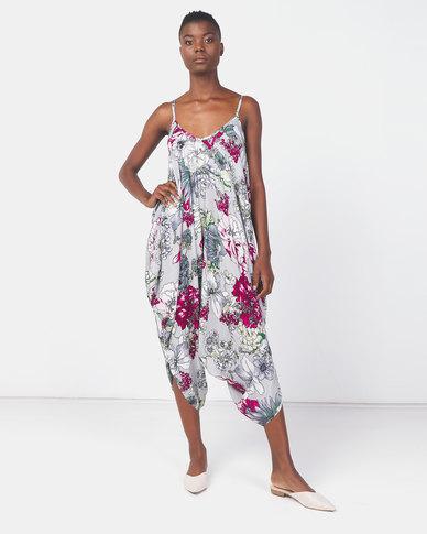 Utopia Floral Print Viscose Harem Jumpsuit Grey