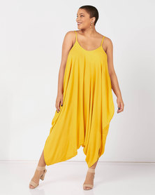 Utopia Plus Viscose Harem Jumpsuit Mustard