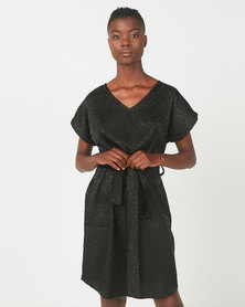 Utopia Animal Jacquard Tunic Dress Black