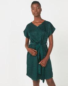 Utopia Animal Jacquard Tunic Dress Deep Green