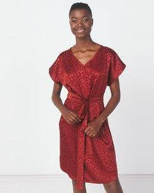 Utopia Animal Jacquard Tunic Dress Rust