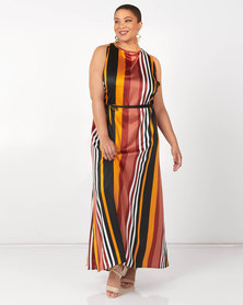 Utopia Plus Striped Halter Maxi Dress Rust