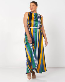 Utopia Plus Striped Halter Maxi Dress Green