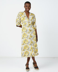 Utopia Floral Button Through Flare Dress Yellow