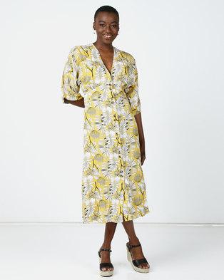 Utopia Floral Button Through Flare Dress Yellow