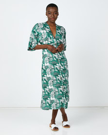 Utopia Floral Button Through Flare Dress Green