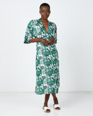 Utopia Floral Button Through Flare Dress Green