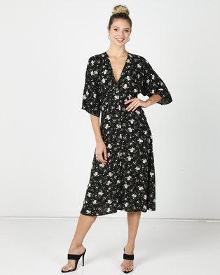 Utopia Ditsy Print Button Through Flare Dress Black