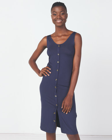 Utopia Knit Button Through Dress Navy