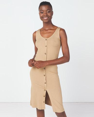 Utopia Knit Button Through Dress Camel