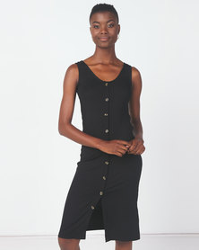 Utopia Knit Button Through Dress Black