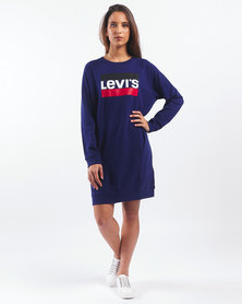 Levi's ® Medieval Crew Sweatshirt Dress Blue