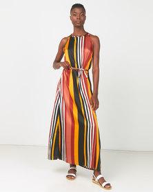 Utopia  Striped Halter Maxi Dress Rust