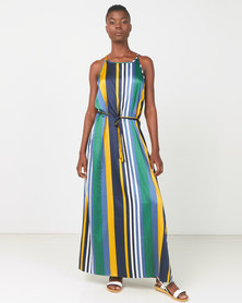 Utopia Striped Halter Maxi Dress Green