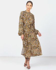 Paige Smith Mandarin Collar Dress Animal Print