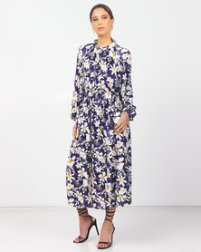 Paige Smith Mandarin Collar Dress Navy Print