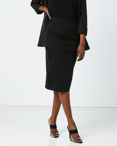 Utopia Pencil Skirt With Slit Black