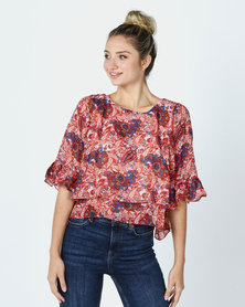 Utopia Paisley Printed Floaty Top Red