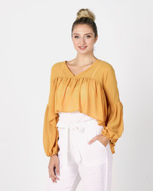 Utopia Floaty Boho Top Mustard