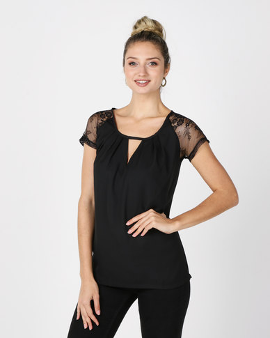 Utopia Top With Lace Sleeves Black