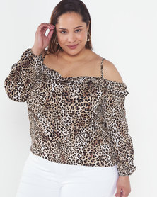 Utopia Plus Animal Printed Bardot Top Brown