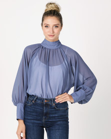 Utopia Volume Top With Blouson Sleeves Blue