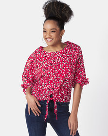 Utopia Animal Print Top With Ties Red