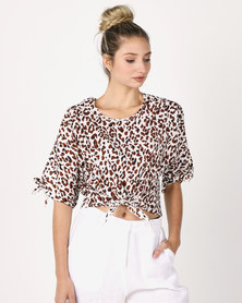 Utopia Animal Print Top With Ties Brown