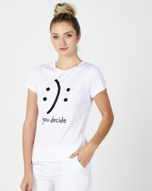 Utopia Smiley Print Tee White