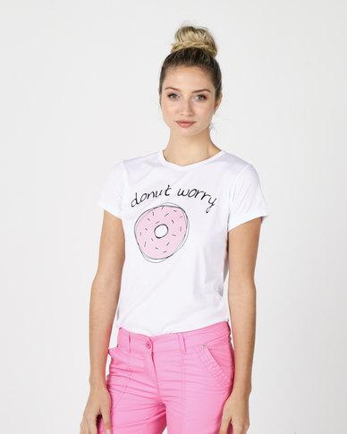 Utopia Donut Worry Print Tee White