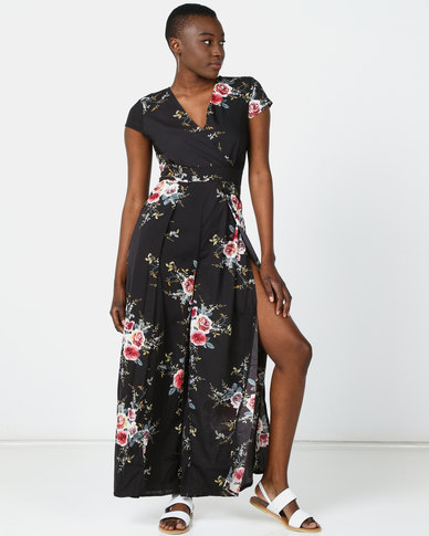 Utopia Floral Jumpsuit With Slits Black
