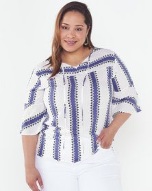 Utopia Plus Stripe Top With 3/4 Sleeves Blue/White