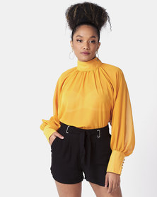 Utopia Volume Top With Blouson Sleeves Mustard