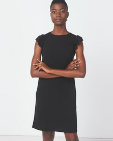 Utopia Crepe Scuba Ruffle Shift Dress Black