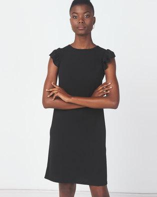 Utopia Crepe Scuba Ruffle Shift Dress Black