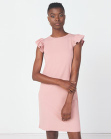 Utopia Crepe Scuba Ruffle Shift Dress Blush