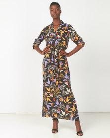 Utopia Tropical Print Maxi Shirt Dress Multi