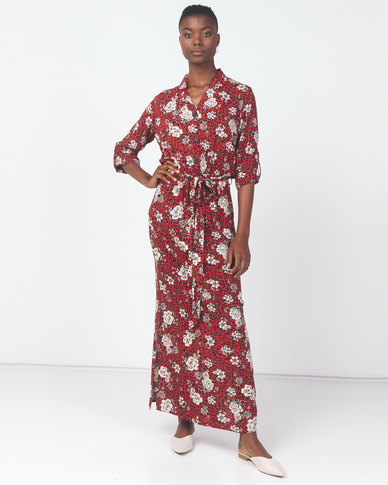 Utopia Animal Print Maxi Shirt Dress Rust