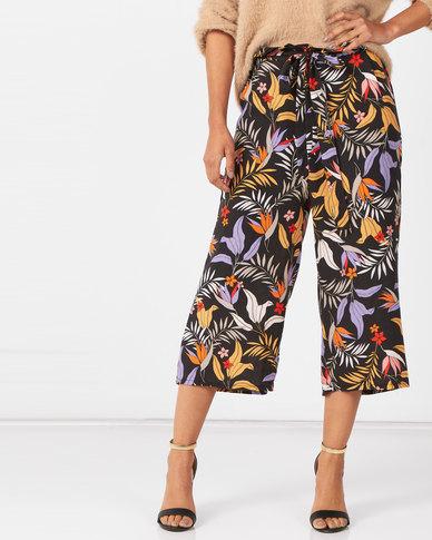 Utopia Tropical Print Wide Leg Trousers Multi