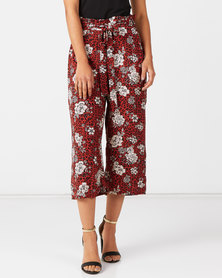 Utopia Animal  Print Wide Leg Trousers Rust