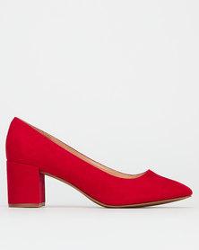 Bata Red Label Block Heel Courts Red
